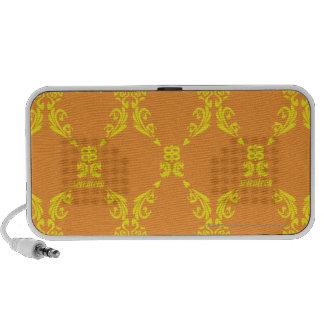Damask Yellow-Orange Laptop Speakers