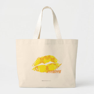 Damask Yellow-Orange Large Tote Bag