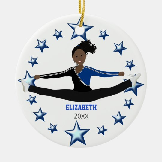 Dance Cheer African American Blue And Black Round Ceramic Decoration