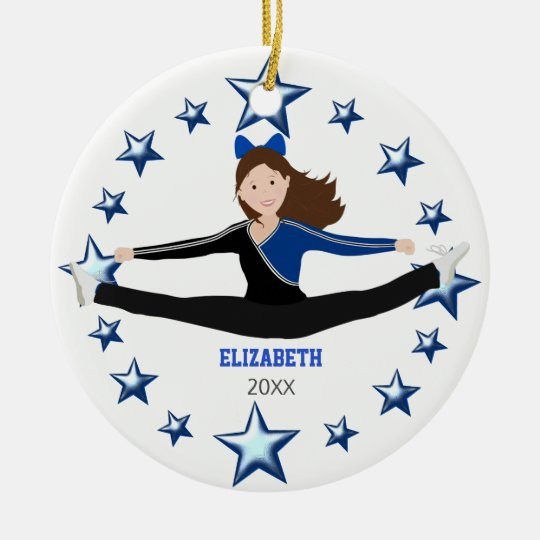 Dance Cheer Brunette Blue And Black Round Ceramic Decoration