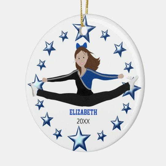 Dance Cheer Dark Brunette Blue And Black Christmas Ornament