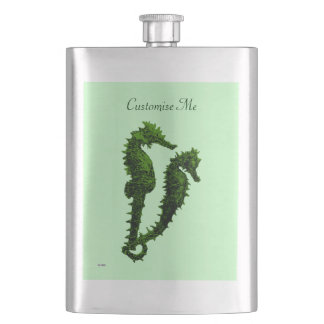 Dance Of The Seahorses (Green) Hip Flask