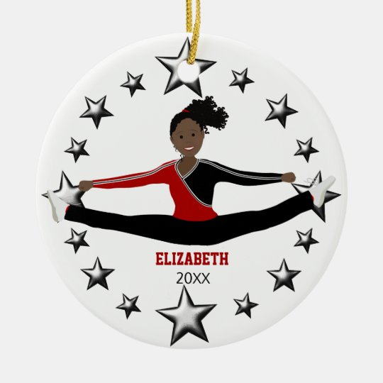 Dance Or Cheer African American Red And Black Round Ceramic Decoration