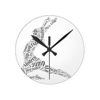 Dance Word Cloud Black & White Round Clock