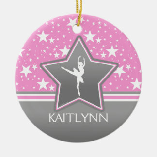 Dancer Among the Stars in Pink with YOUR NAME Christmas Ornament