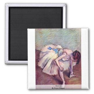 Dancer By Edgar Degas Square Magnet