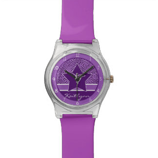 Dancer in Purple Cheetah Print with Monogram Watch