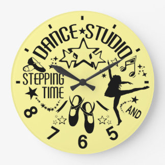 Dancer's Black and Yellow Dance Studio Clock