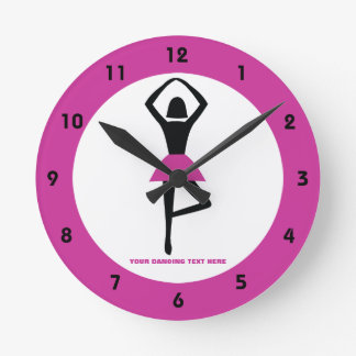 Dancing ballerina black, hot pink custom round clock