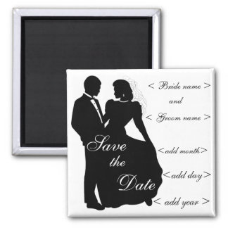 Dancing Bride and Groom Silhouette Favors Square Magnet