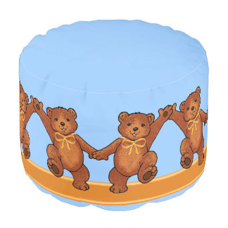 Dancing Brown Teddy Bears with Orange Bows Pouf