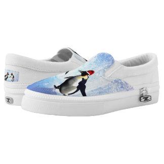 Dancing for christmas, funny penguin slip on shoes