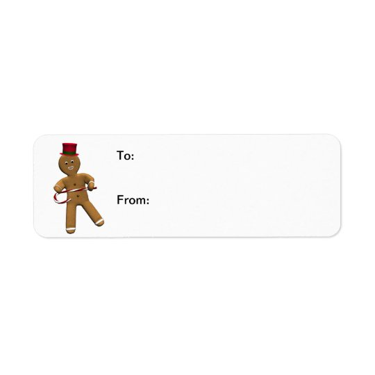 Dancing Gingerbread Man Gift Labels