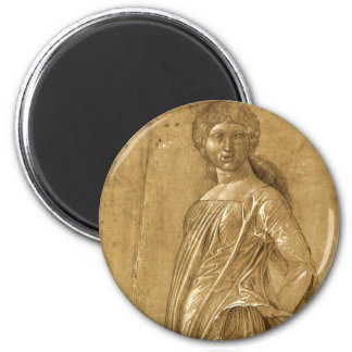 Dancing Muse by Andrea Mantegna, Renaissance Art 2 Inch Round Magnet