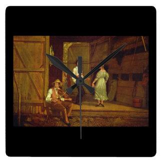 Dancing on the Barn Floor_Art of America Square Wall Clock