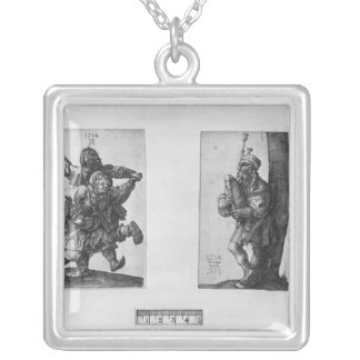 Dancing Peasants and a Bagpipe Player, 1514 Silver Plated Necklace