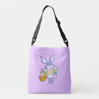 Dancing Purple Easter Bunny Lavender Crossbody Bag