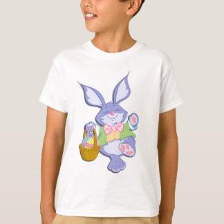 Dancing Purple Easter Bunny Personalised Back T-Shirt