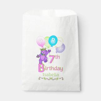 Dancing Purple Princess Bear 7th Birthday Favour Bags