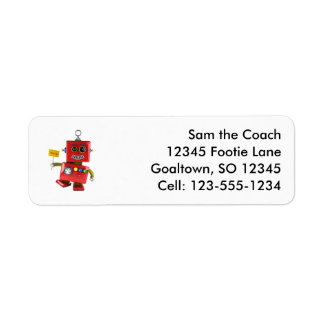 Dancing red toy robot with party sign return address label