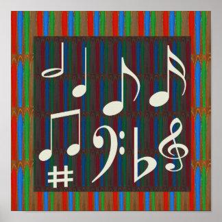 Dancing Sheet Music Symbols Posters