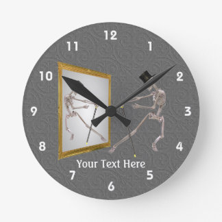 Dancing Skeleton With Top Hat And Cane Round Clock