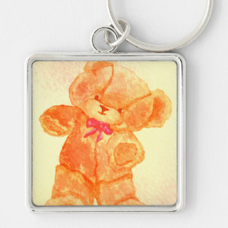 Dancing Teddy Bear CricketDiane Art & Design Silver-Colored Square Key Ring