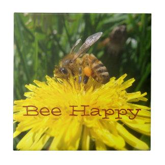Dandelion Bee Happy Small Square Tile