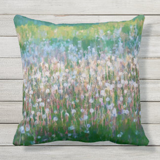 Dandelion Field of Wishes Throw Pillow