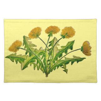 Dandelion Flower Art on Placemats