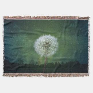 Dandelion Flower Fluff Starry Sky Art Throw Blanket