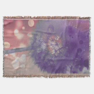 Dandelion Puff nature fantasy art throw blanket