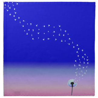 Dandelion Seeds Flying in the Wind - Royal Blue Napkin