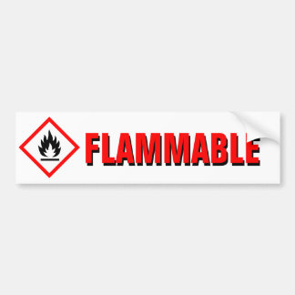 Danger Flammable Warning with Pictogram Bumper Sticker