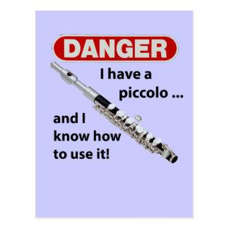 DANGER! I have a piccolo ... Postcard