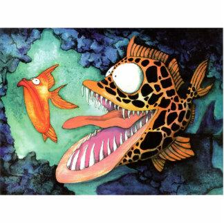 """Dangerous Waters"" Fish Watercolor Mike Quinn Photo Sculpture Magnet"