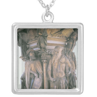 Daniel and Isaiah in Dispute, hexagonal pedestal Silver Plated Necklace