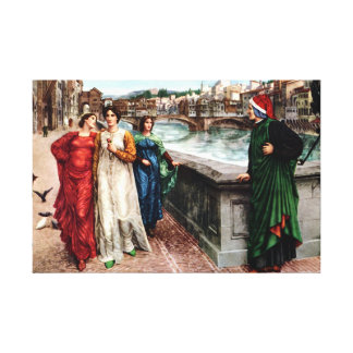Dante meets Beatrice in Florence fine art painting Canvas Prints