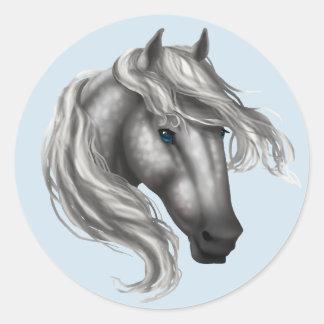 Dapple Grey Horse Head Classic Round Sticker