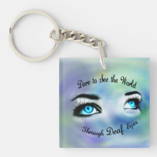 Dare to See the World square acrylic keychain