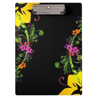 Dark Abstract Hawaiian Hibiscus Floral Background Clipboard