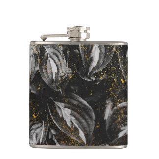 Dark Black and Gold Leaves Botanical Nature Hip Flask