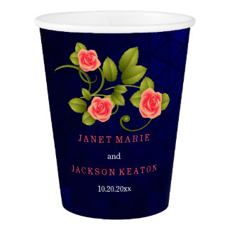 Dark Blue and Coral Rose Flower Wedding Collection Paper Cup