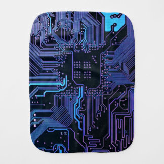 Dark Blue and Purple Cool Computer Circuit Board Baby Burp Cloths
