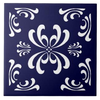 Dark Blue and White Nouveau Flourish Ceramic Tile