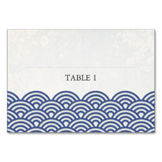 Dark Blue and White Stylized Waves Place Name Card Table Card