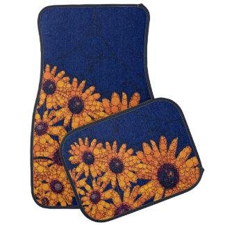 Dark Blue Bright Orange Sunflowers Car Mat