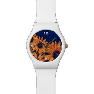 Dark Blue Bright Orange Sunflowers Watch