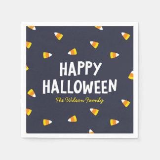 Dark Blue Candy Corn Happy Halloween Paper Napkin