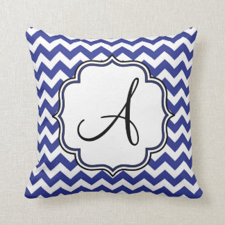 Dark Blue Chevron Monogram Cushion